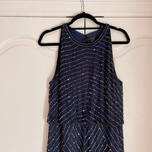 Adrianna Papell Beaded Sleeveless Gown Navy